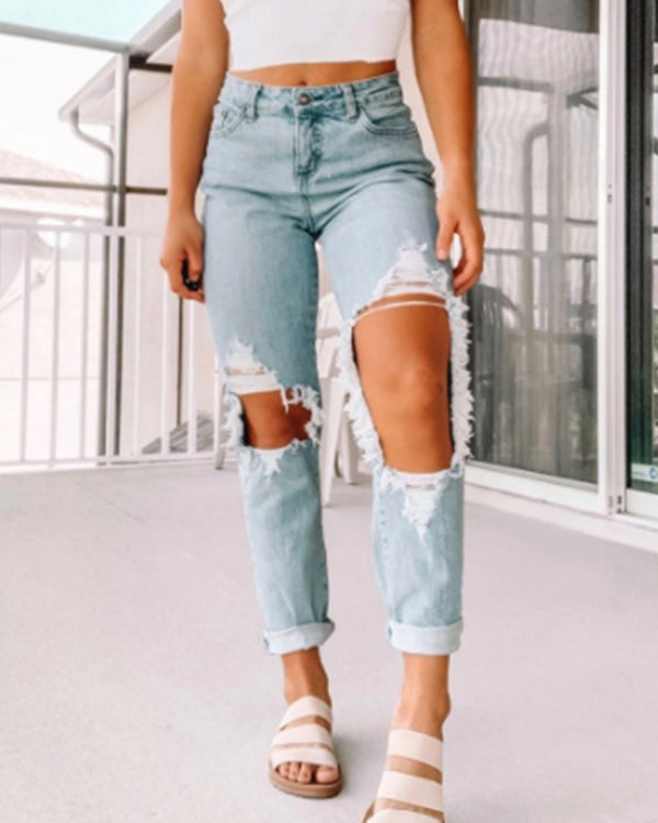 Solid Color Straight Ripped Jean Pants