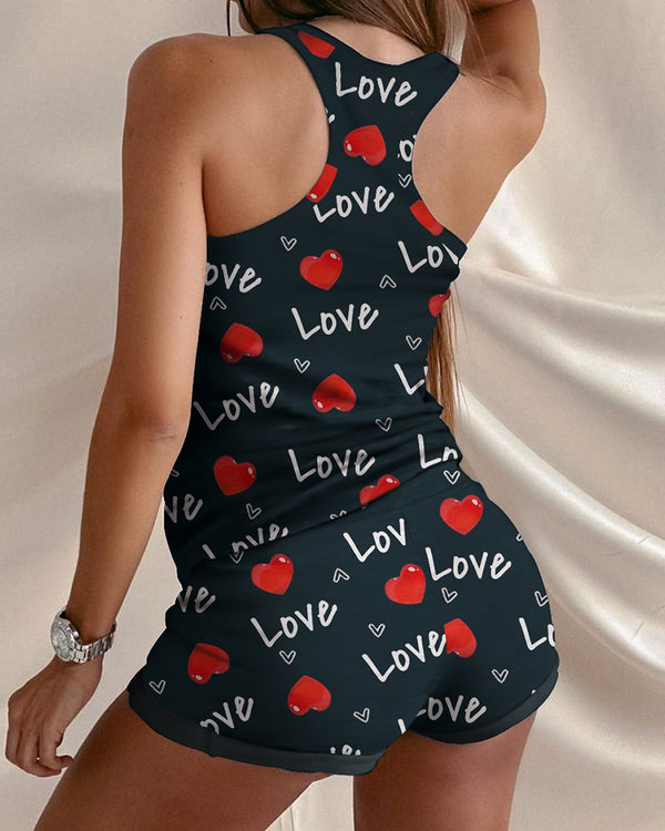 Letter Heart Print Sleeveless Top & Drawstring Waist Shorts Set