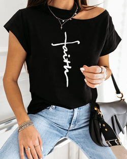Letter Print Short Sleeve Casual T-shirt