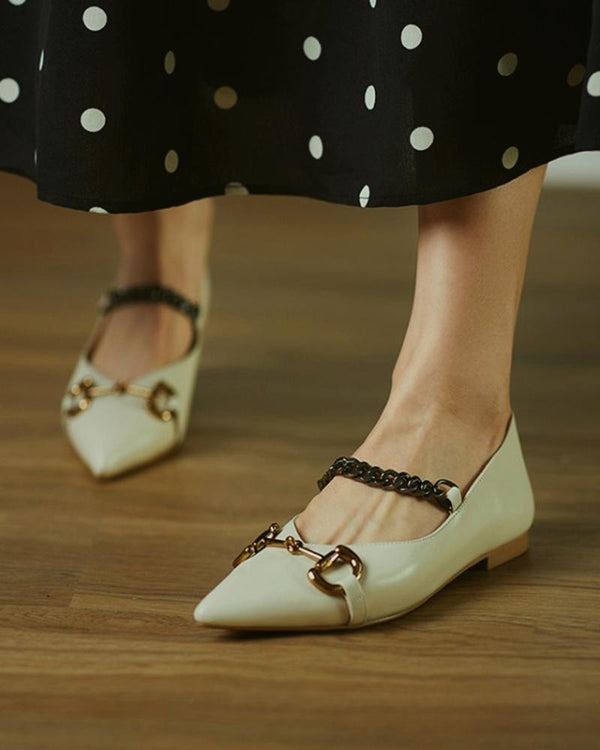 Chain Pointed Toe Flat Loafer Slip-on