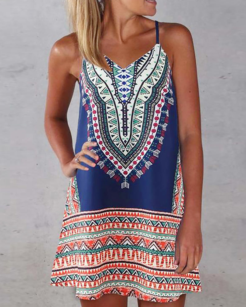 Spaghetti Strap Print Casual Dress