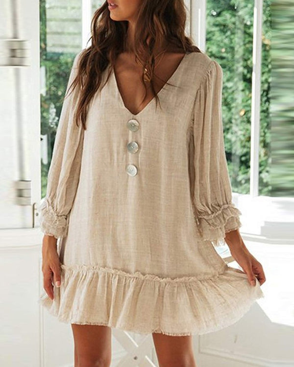 Solid Color Button Long Sleeve Ruffle Hem Cotton Linen Mini Dress