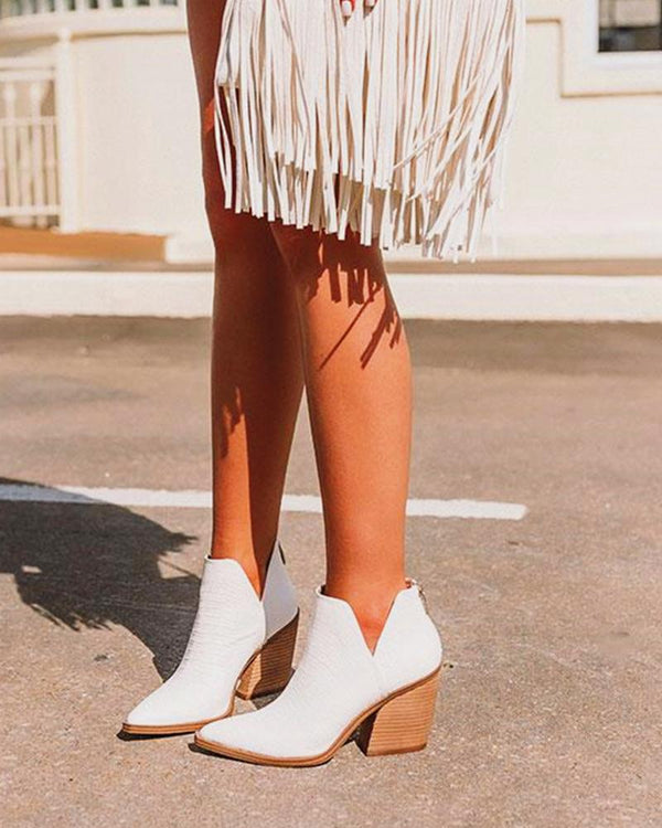 Pointed Toe Cut-out Ankle Boots