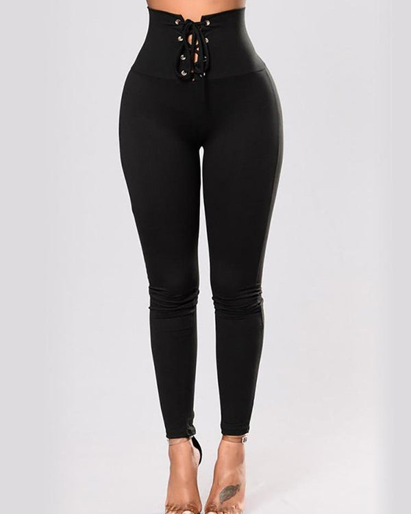 Solid High Waist  Lace-Up Leggings