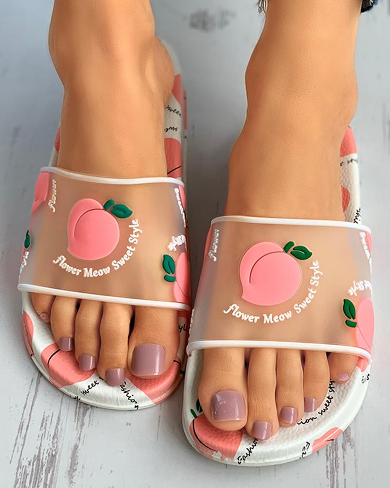 Transparent Fruits Pattern Flat Sandals