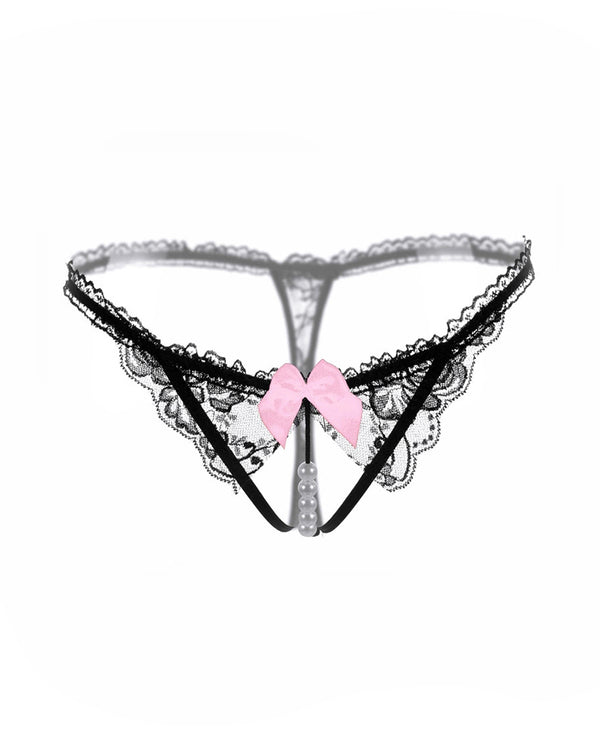 Lace Trim Bowknot Beaded Thong