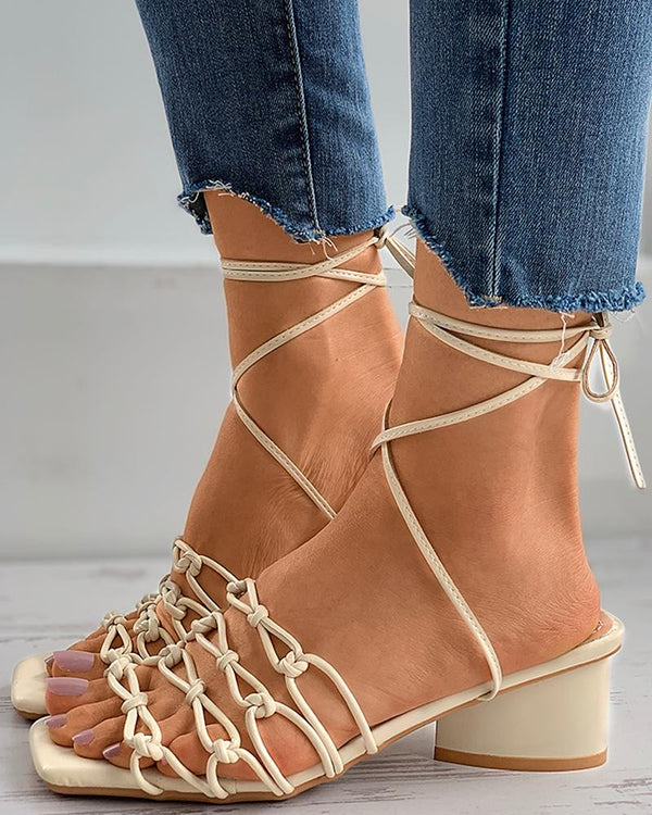 Braided Lace-up Square Toe Chunky Heels