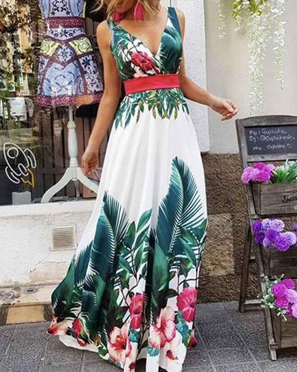 Floral Print V Neck Sleeveless Maxi Dress