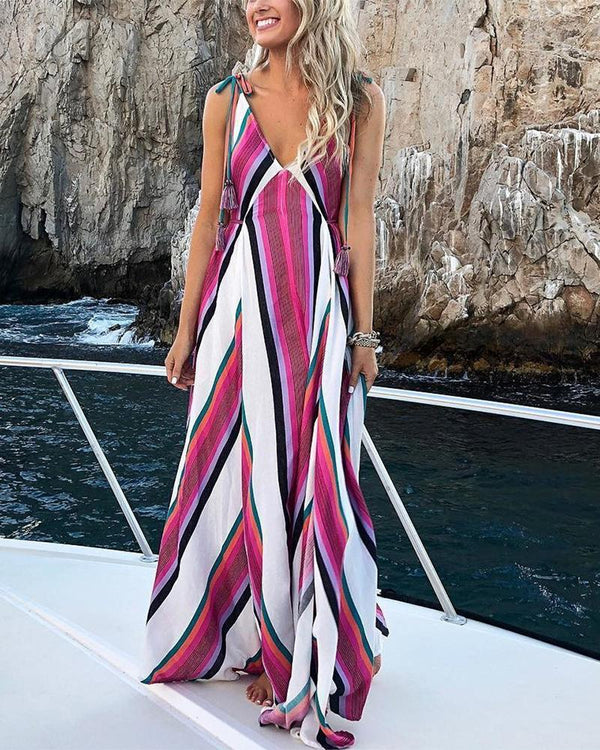 Abstract Stripes Tie Strap Maxi Dress