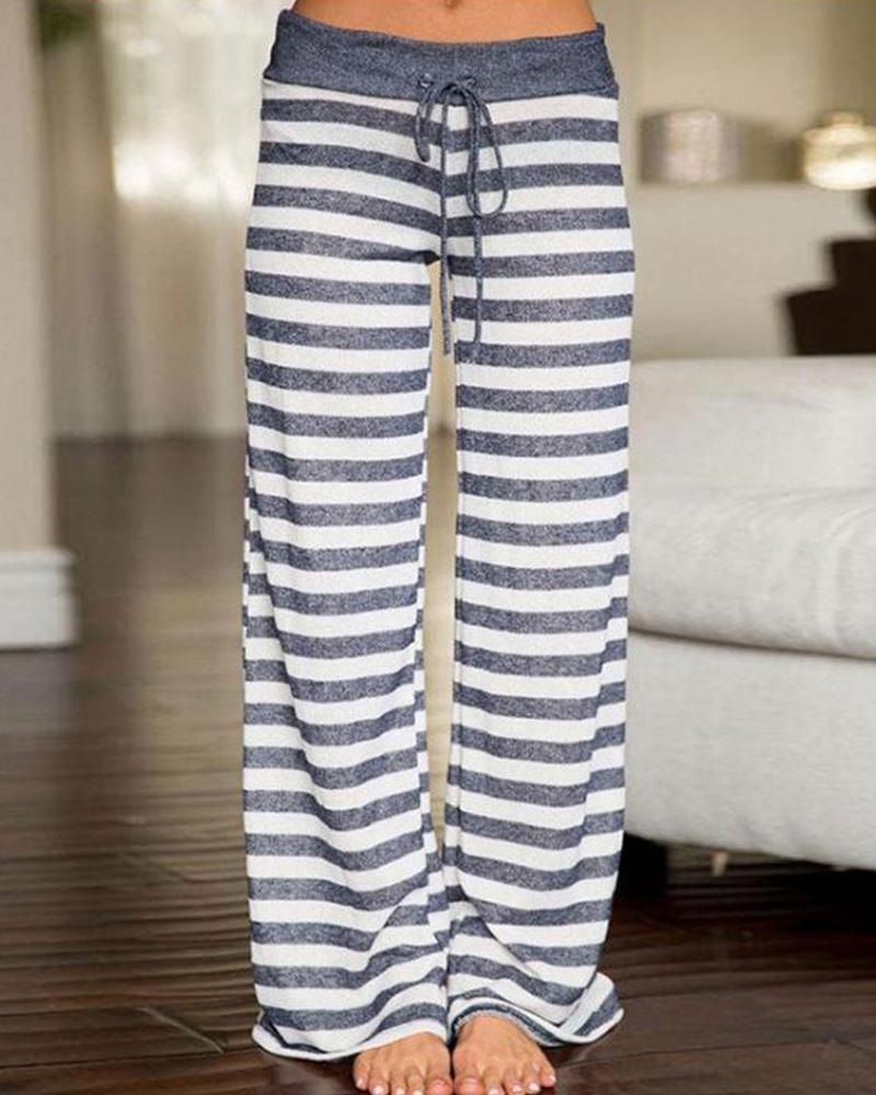 Striped Drawstring Wide Leg Pants