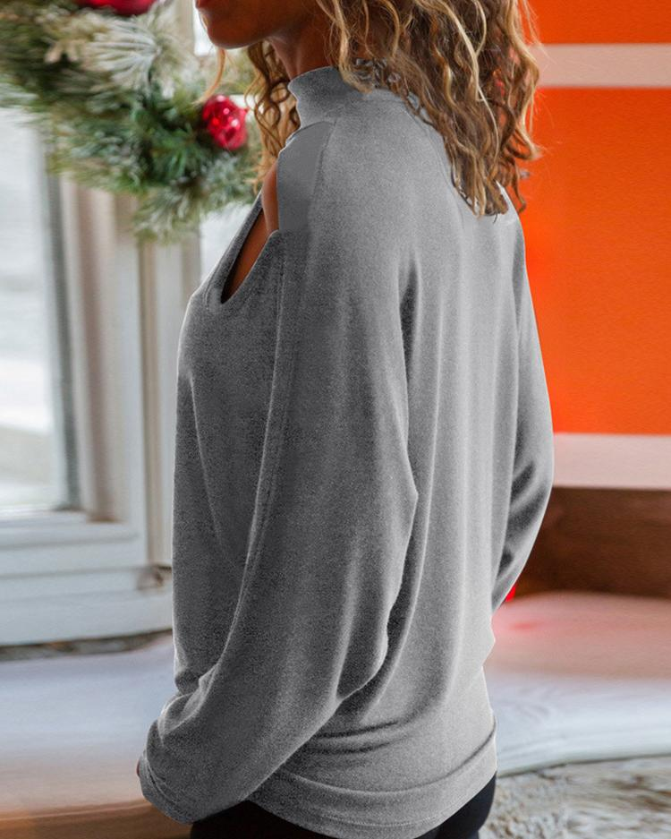 Solid Cut Out Shoulder Long Sleeve T-Shirt