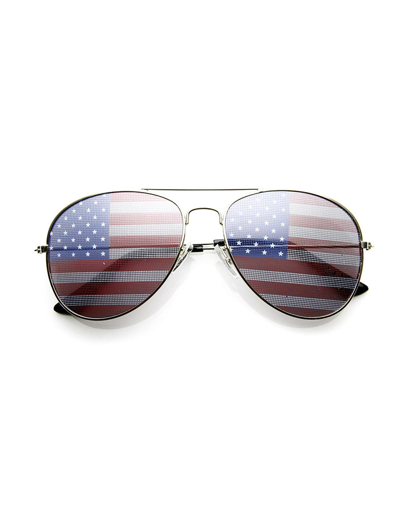 Flag Print Flexible Metal Frame Sunglasses