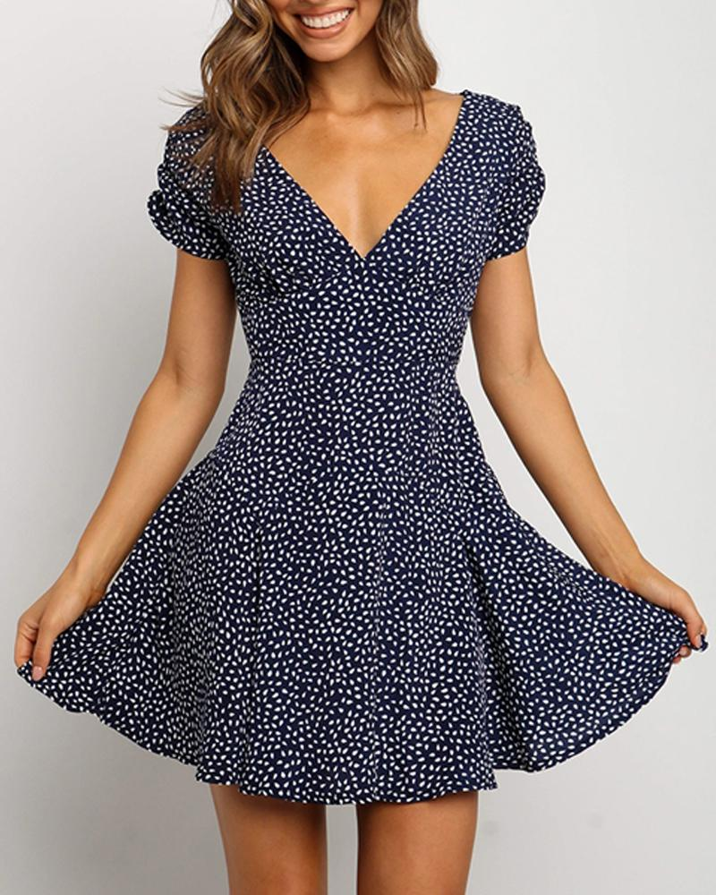 Dotted V Neck Fit & Flare Mini Dress