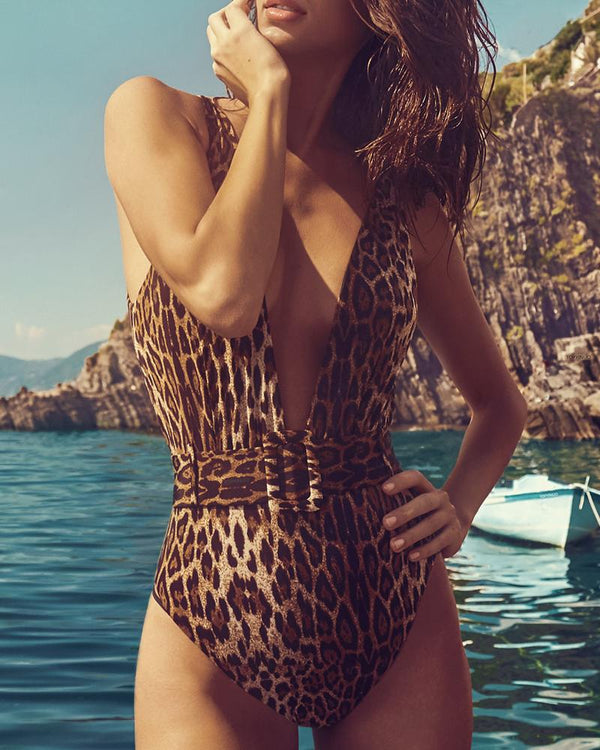 Leopard Print One Piece Swimsuit