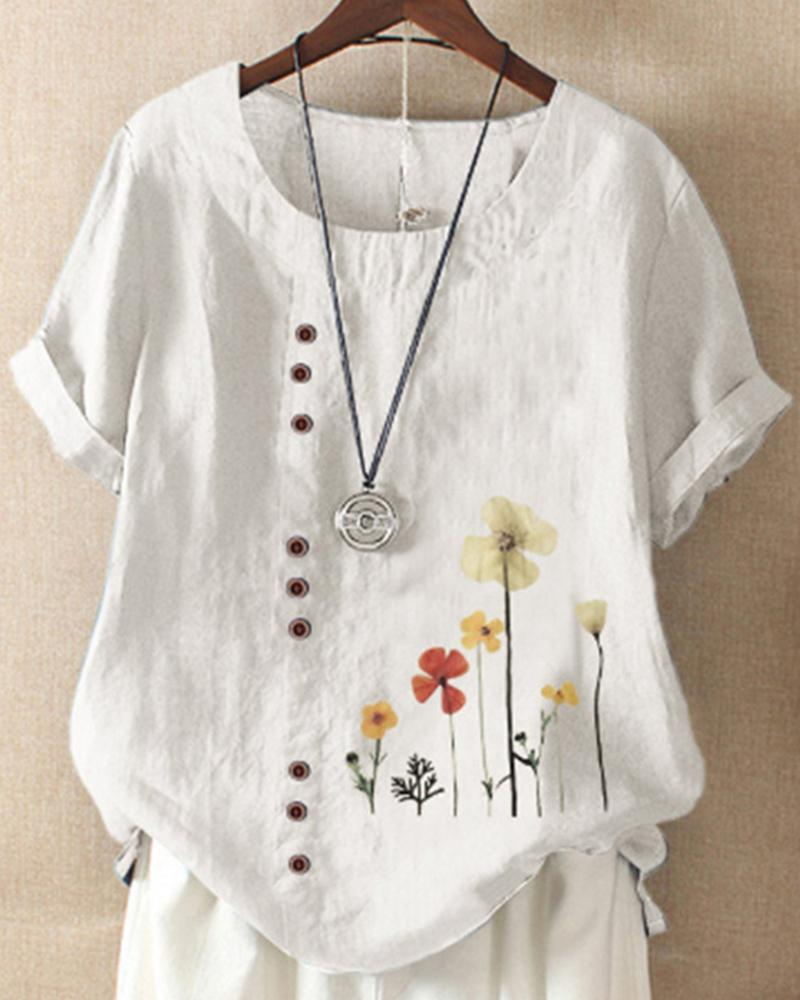 Floral Print Button Detail T-Shirt