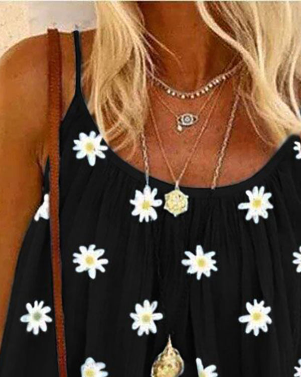 Daisy Print V-neck Casual Tank Top
