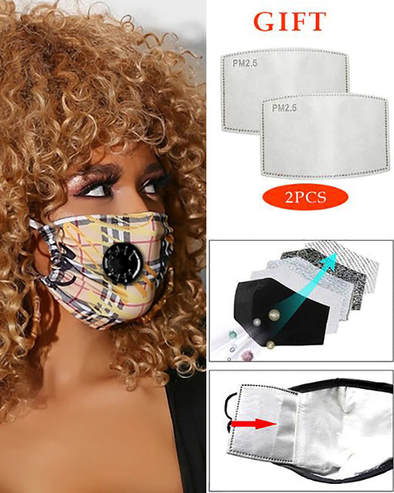 Grid Print Breathing Washable Valve Face M .a. s. k (2 filters as gift)