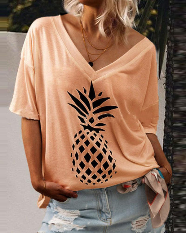 Print V Neck Loose T-shirt Top