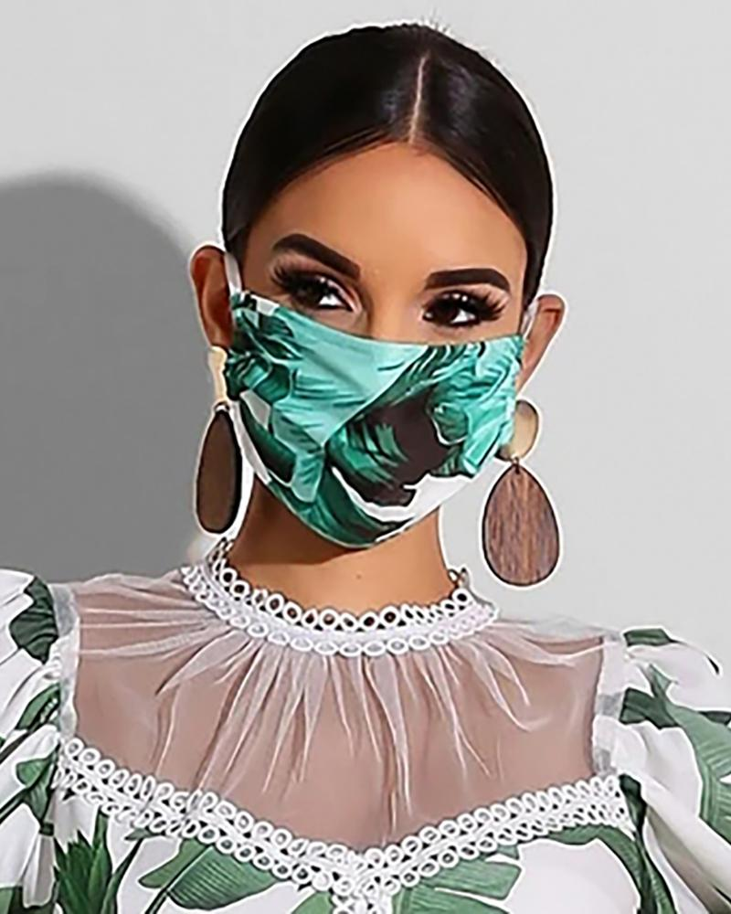 Plant Print Breathable Mouth Mask Washable And Reusable