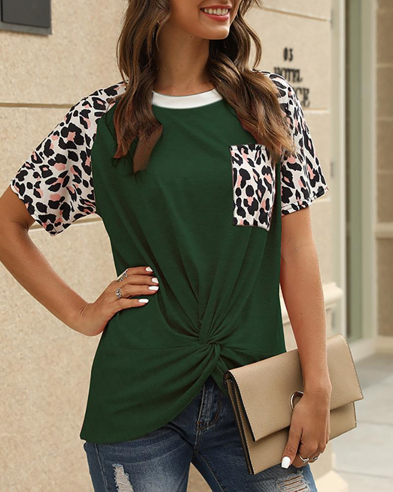 Leopard Print Casual Twisted T-shirt