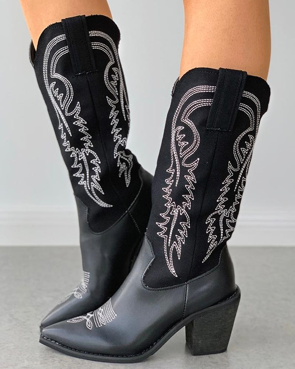 Pointed Toe Embroidery Chunky Heeled Boots