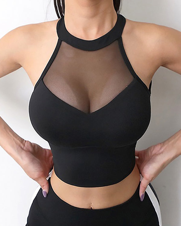 Sheer Mesh Halter Cutout Back Sporty Top