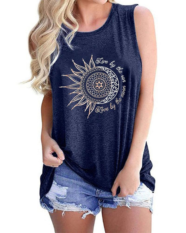Sunflower Print Round Neck Tanks