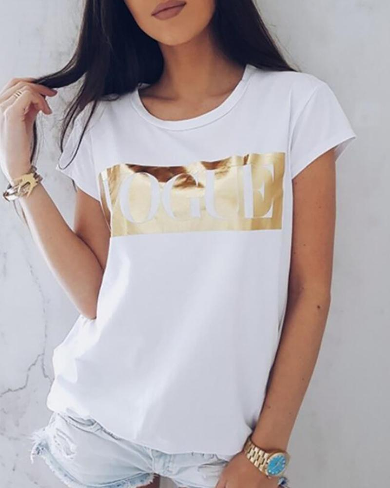 Letter Pattern Short Sleeve O-neck Tee