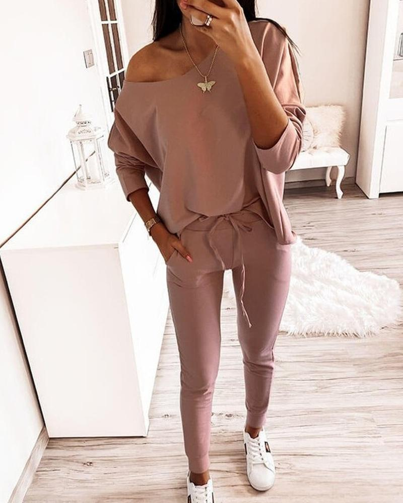 One Shoulder Top & Pants Set