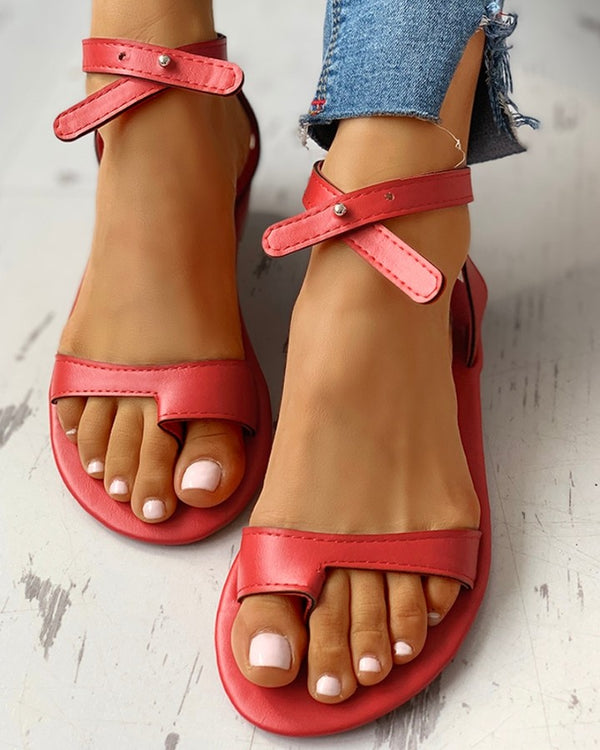 Toe Ring Stud Buckled Flat Sandals