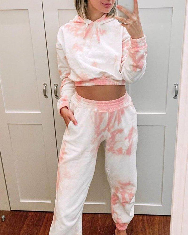 Crop Hooded Hoodies Pants Two-piece