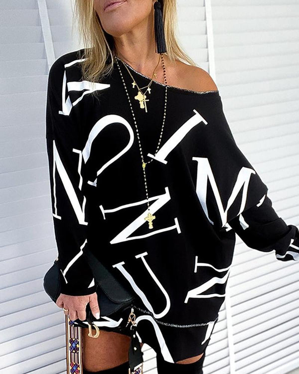 Letter Print Long Sleeve Casual Sweatshirt Dress