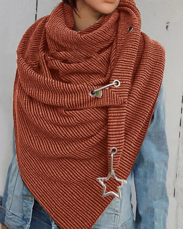 Solid Embossing Star Buckle Scarf