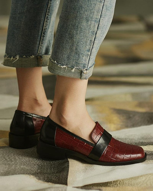 Brief Crocodile Pattern Shallow Loafers