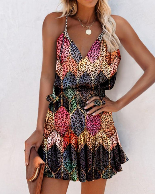 Multicolor Print Spaghetti Strap Mini Dress