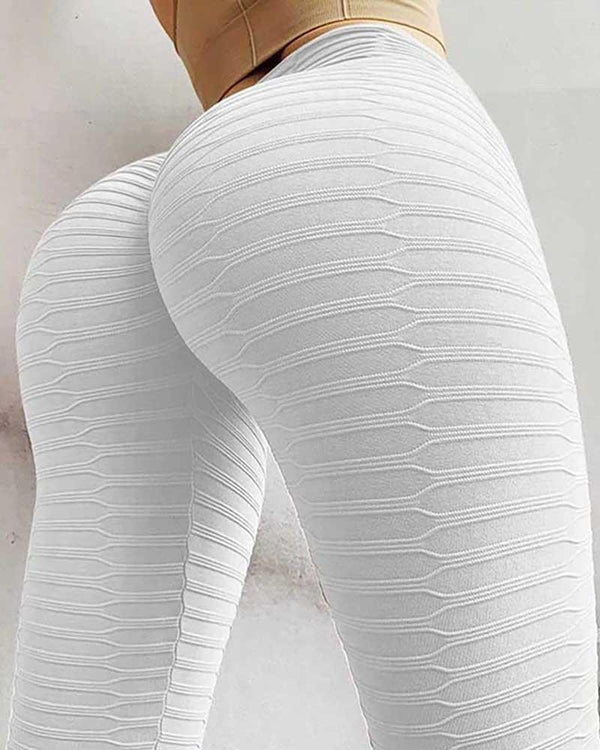 High Waist Texture Workout Yoga Leggings Push Up Workout Pants