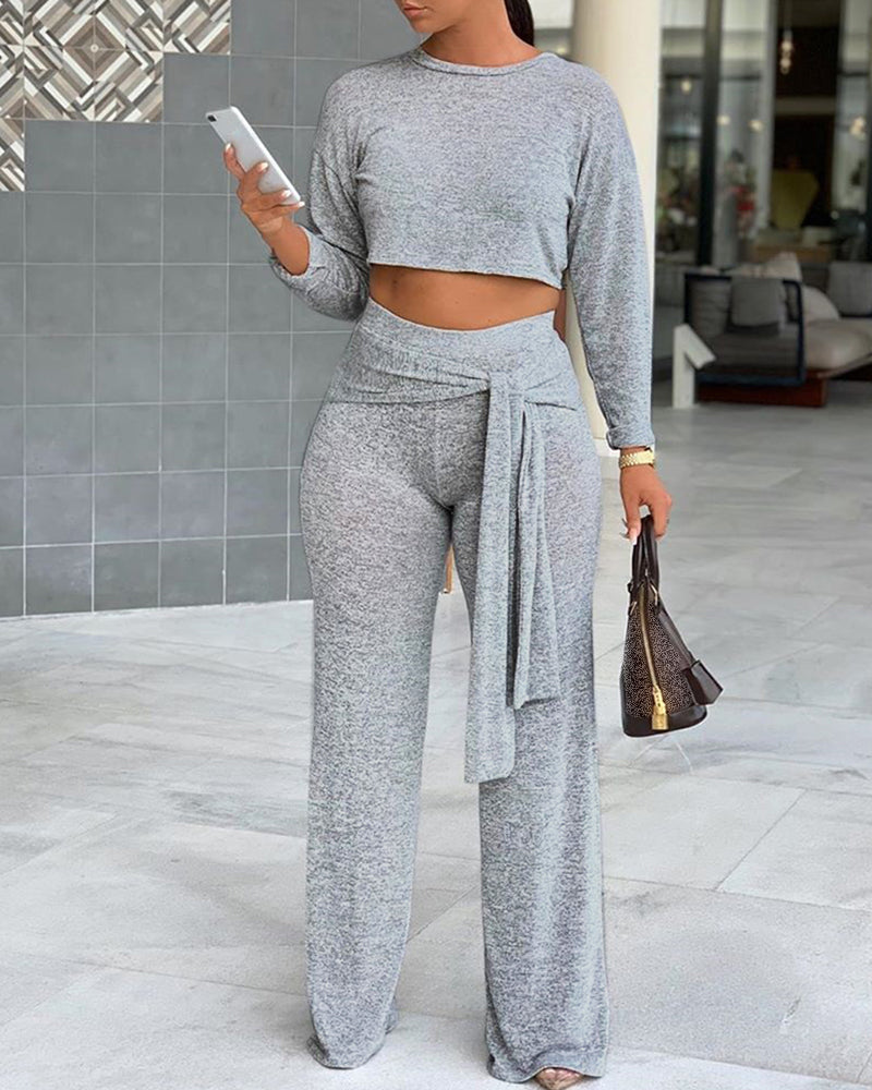 Solid Long Sleeve Casual Top & Pant Set