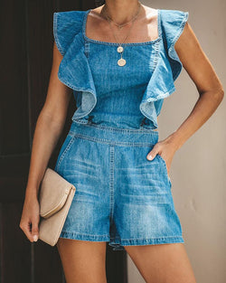 Backless Ruffle Trim Denim Romper
