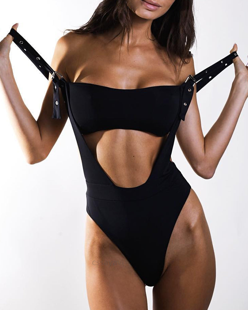 Solid Cutout One Piece Swimsuit