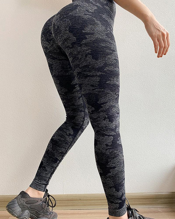 Camouflage Print High Waist Yoga Pants