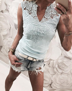 V-Neck Sleeveless Lace Yoke Top