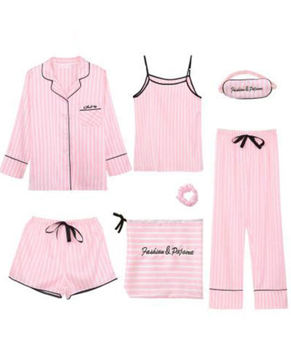 Satin 7-Piece Pajama Set