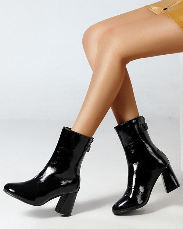 Solid Color Leather High Heel Boots