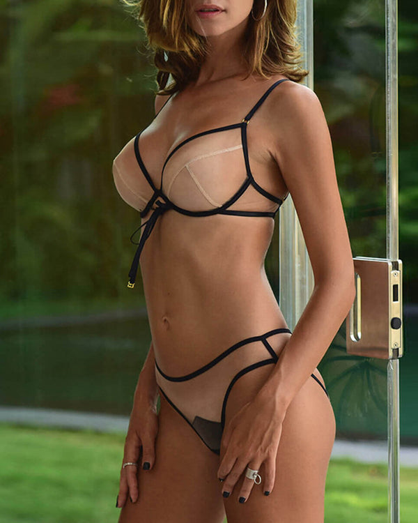 Sexy See-through Mesh Cross Strap Sling Bra Sets