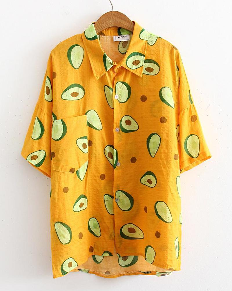 Avocado Print Loose Fit Shirt