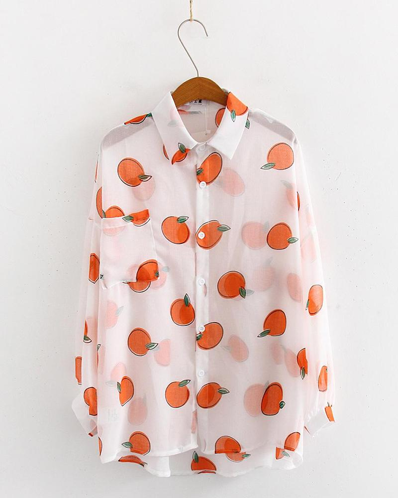 Fruit Print Button Detail Shirt