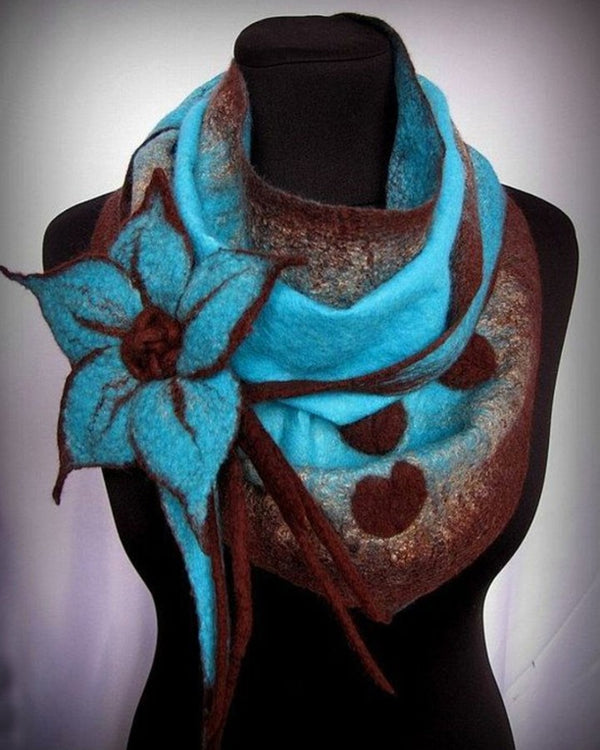 Casual Color Block Floral Print Scarf