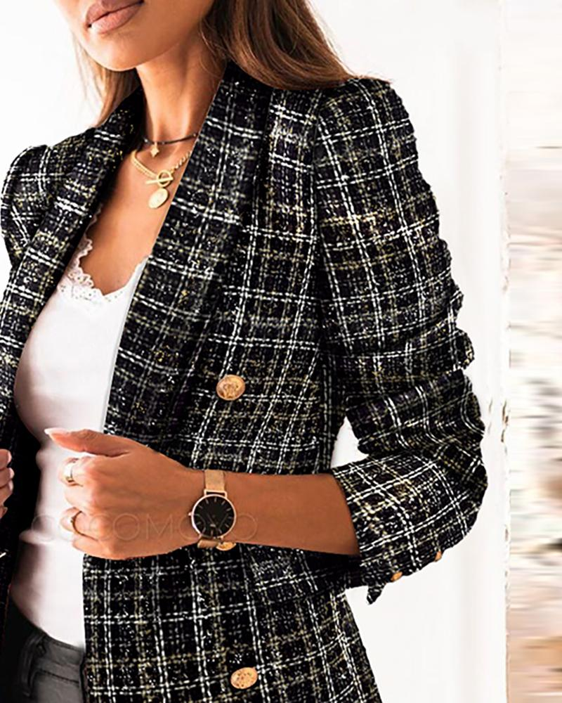 Notched Neck Double-breasted Tweed Blazer