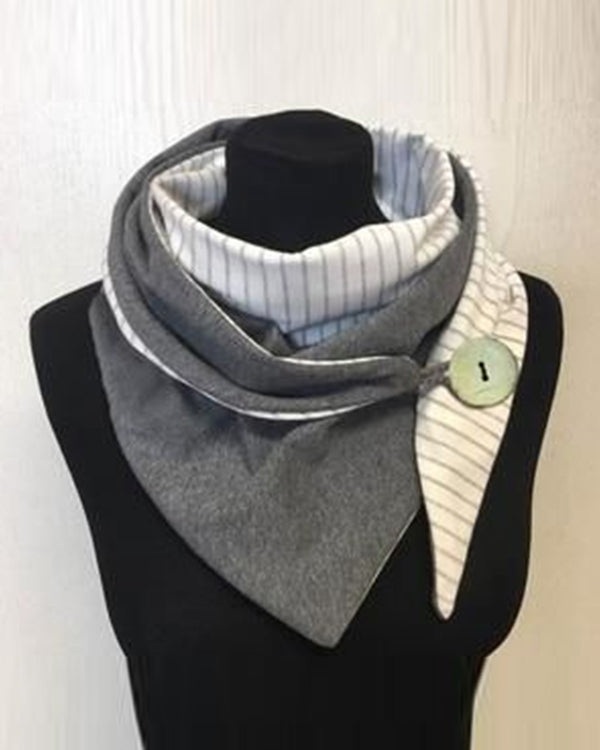 Color Block One Button Thicken Scarf