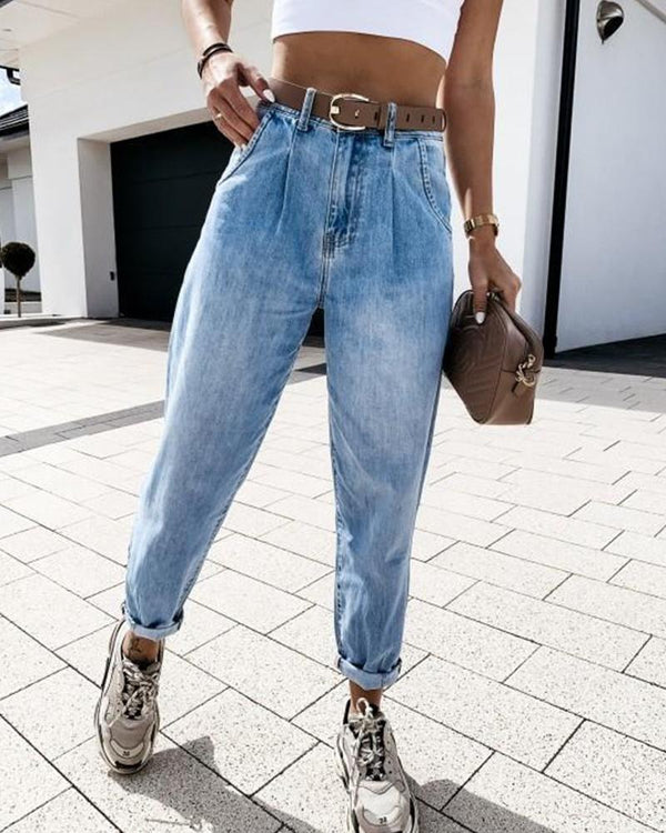 Washed High Waist Front Button Jeans